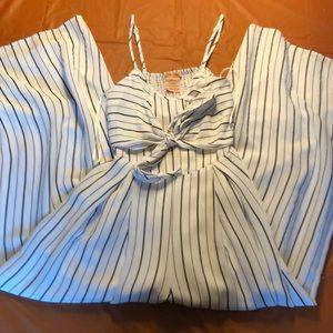 White/black pin striped jumpsuit